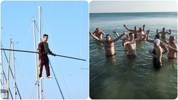 Kötéltánccal és jeges fürdővel búcsúztatták a telet a Balatonnál