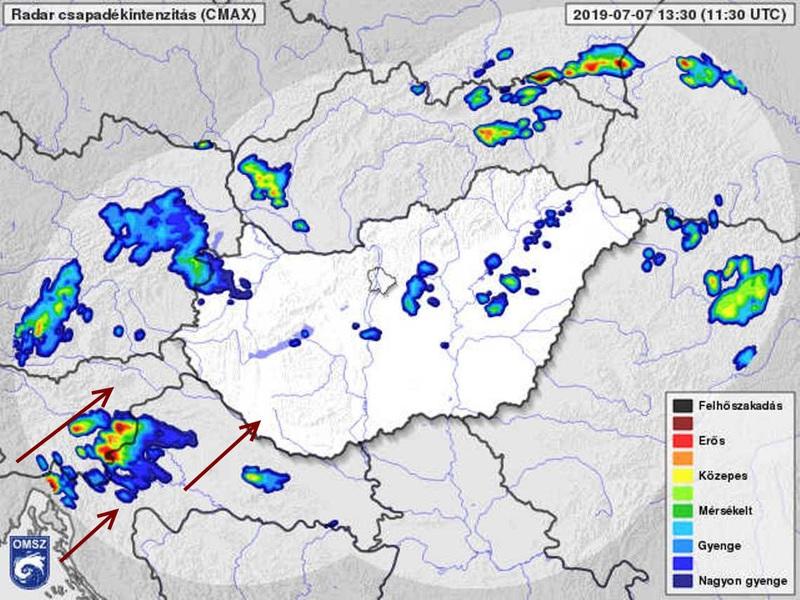 1. Ábra: a most még Szlovénia felett tartózkodó zivatarrendszer néhány óra múlva eléri Somogy megyét is.