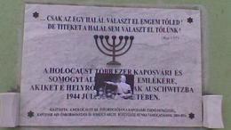 Megrongáltak egy kaposvári Holokauszt emléktáblát