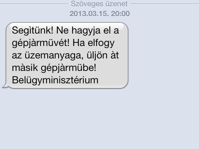 belügyminisztériumi sms