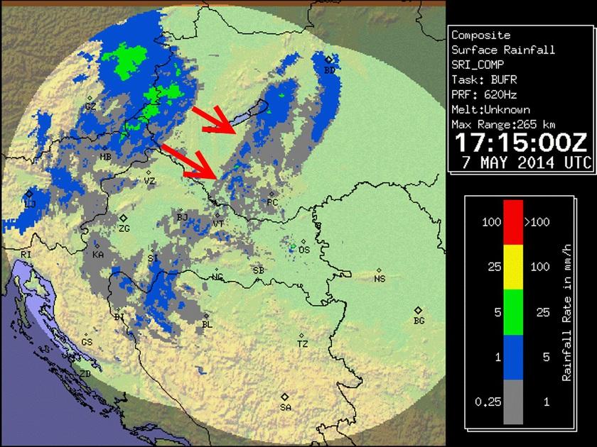 A friss radarképen az éppen távozó gyengébb, illetve az érkező erősebb csapadékzóna látható. Az ábrán a zöldes szín a jelentősebb csapadékot jelenti. A számítások szerint, a csapadék inkább záporos jellegű lehet.