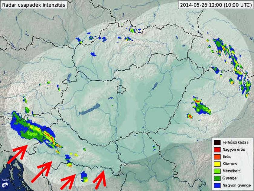 1. Ábra: a friss radarképen a jelenleg Szlovénia és Horvátország felett szerveződő zivatarok láthatók. A piros szín a hevesebb eseményekre utal. A következőkben ezek a zivatarok erősödve, vonalba rendeződve, beléphetnek majd hazánkba is. Erre leginkább késő délutántól van esély.
