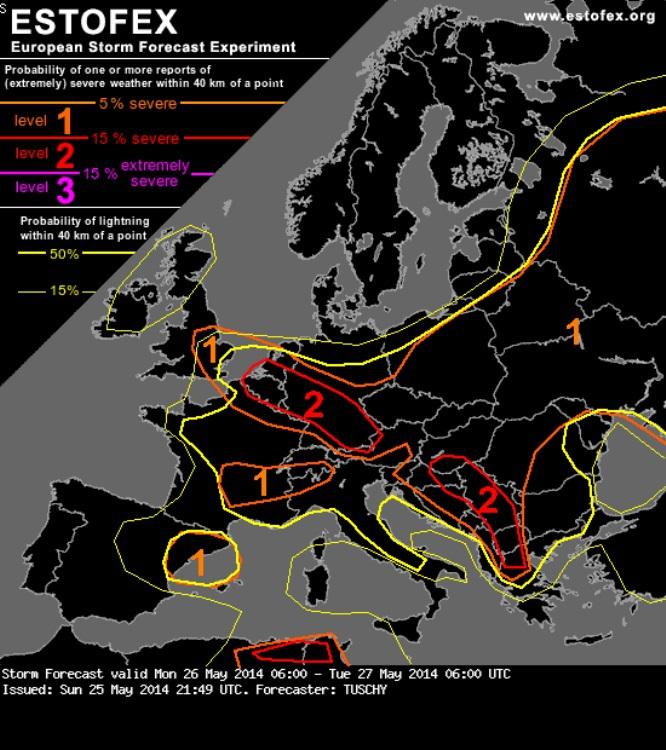 2. Ábra: az ESTOFEX vihar előrejelzése a következő 24 órára. A piros vonal által határolt területeken várhatóak a leghevesebb események!