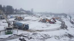Hóesésben is gőzerővel épül a kaposvári busztelephely