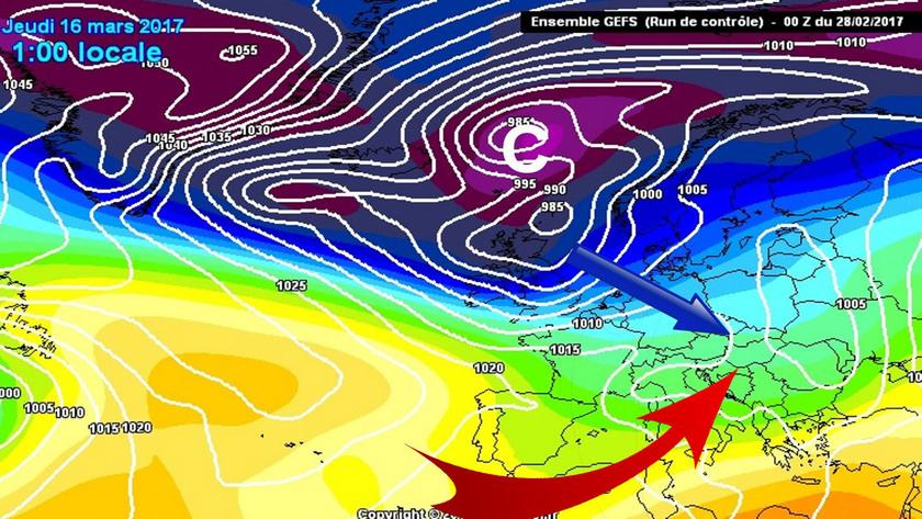 A Kárpát-medence az Európa északi, északnyugati tájain haladó ciklonok áramlási rendszerében helyezkedik el. Ciklon előoldali meleg, illetve ciklon hátoldali hideg áramlások váltogatják majd egymást.
