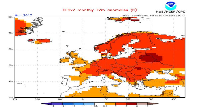 A CFS modell hőmérsékleti anomália előrejelzése márciusra.