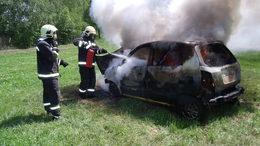 Lángoló autót oltottak a tűzoltók
