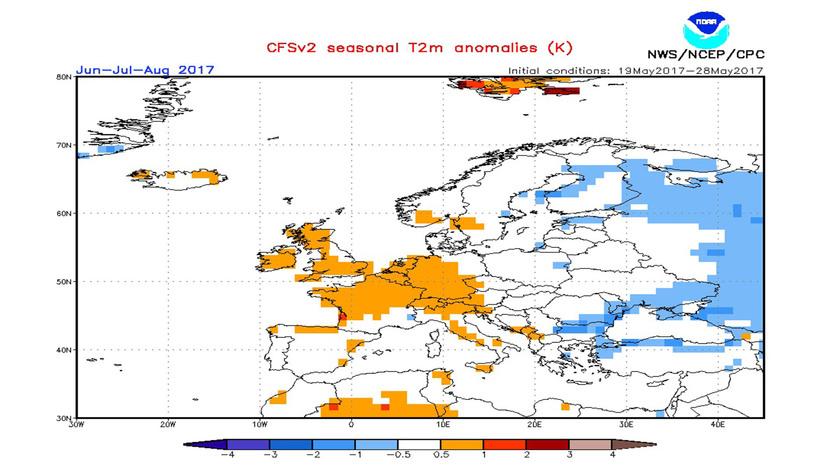 1. Ábra: a CFS modell hőmérsékleti anomália előrejelzése június-július- augusztusra.