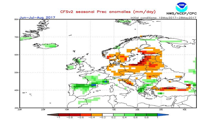 2. Ábra: a CFS modell csapadék anomália előrejelzése június-július-augusztusra.