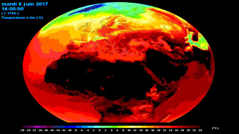 5. Ábra: Afrika északi területein, illetve az Arab tábla térségében nagy tömegű, forró levegő halmozódott fel. Ezeken a tájakon már időnként 40 fok fölé emelkedik a hőmérséklet. Az ezeken a területeken felhalmozódó meleg alapfeltétele a hazánkban kialakuló kánikulai időszakoknak, nagyobb hőhullámoknak.