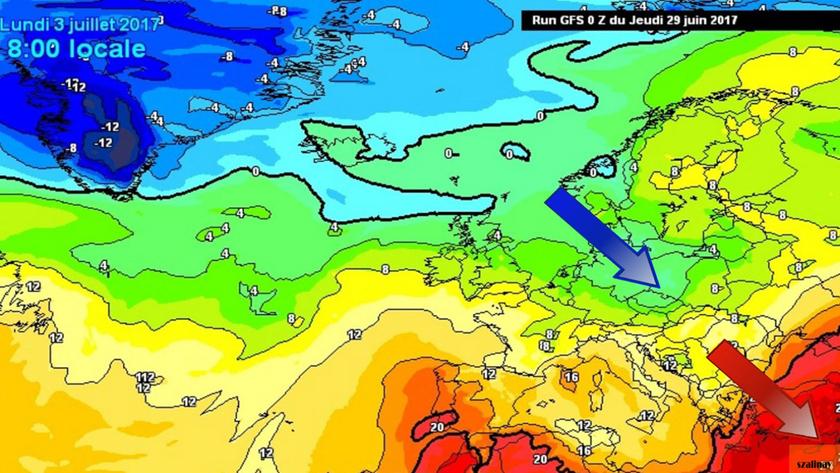 3. Ábra: július 3-ra várható hőmérsékleti mező Európa felett. (1500m magasság)