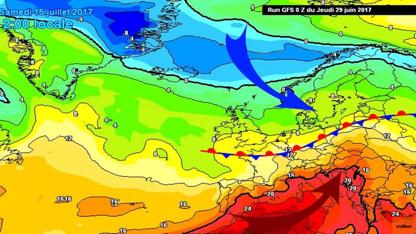 4. Ábra: július 15-re várható hőmérsékleti mező Európa felett. (1500m magasság)
