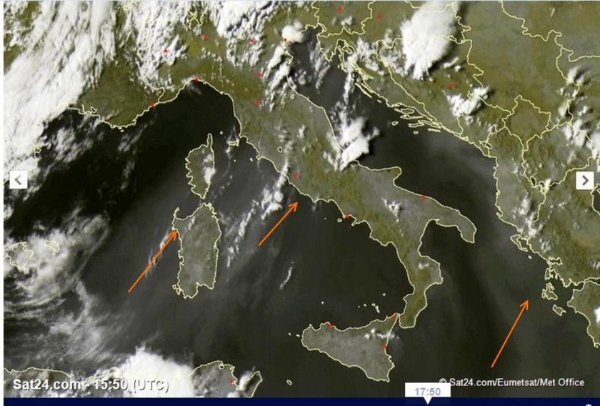 1. Ábra: a sivatagi homok a délutáni órákban már elérte Szardínia, illetve Olaszország térségét. A későbbikben hazánk légkörébe is megérkezhet majd.