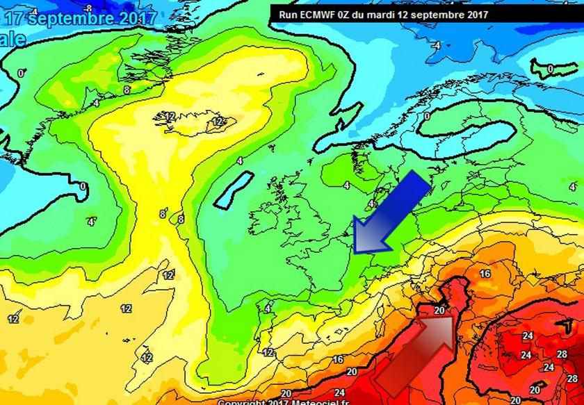 1. Ábra: egyre nagyobb hőmérsékleti kontraszt alakul ki Európa felett, ennek következtében hazánkban is egyre változékonyabbra, időnként csapadékosra fordul az idő. A hideg és meleg levegő határán mediterrán ciklonok is kialakulhatnak majd.