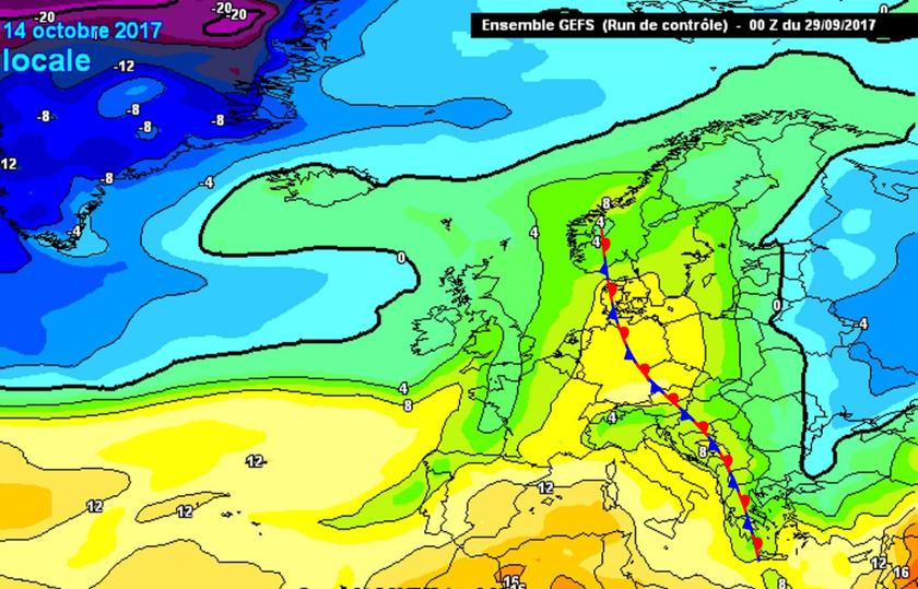 3. Ábra: Európa középső területei a hideg és meleg légtömegek határán helyezkedhet majd el.