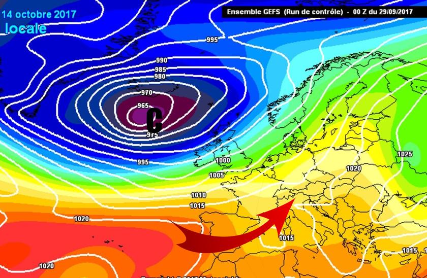 4. Ábra: a Brit-szigetek felett kialakuló ciklonok előoldali áramlásában enyhe léghullámok érkeznek térségünk fölé.
