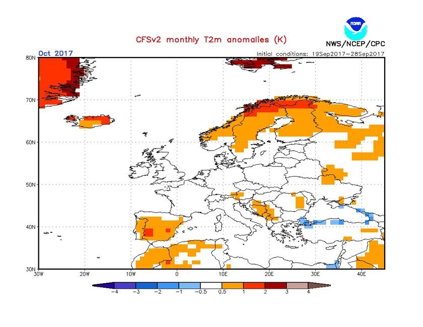 1. Ábra: a CFS modell hőmérsékleti anomália előrejelzése októberre.