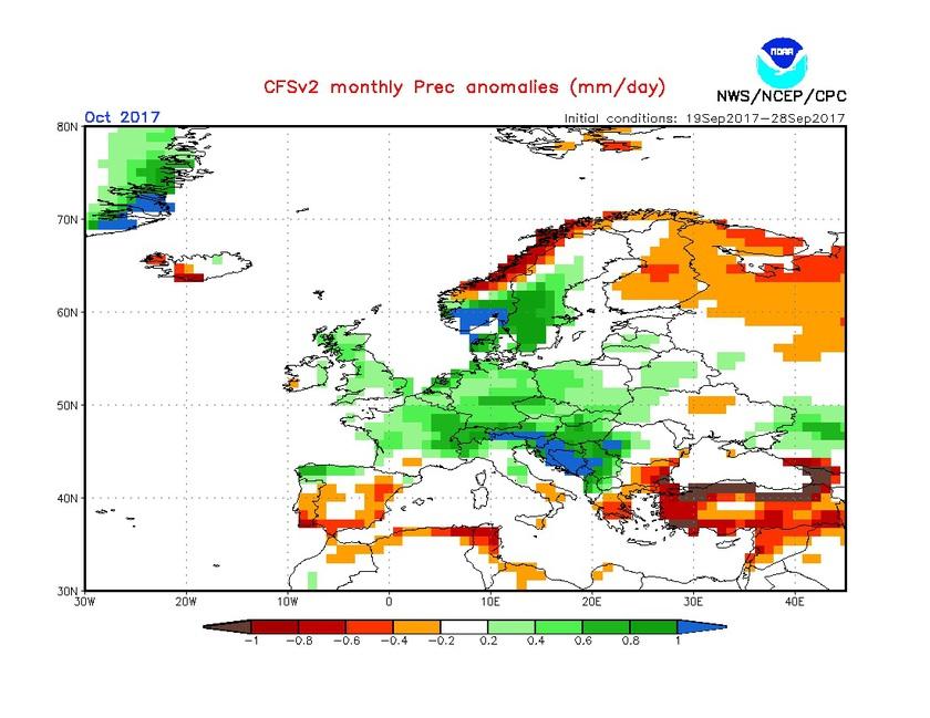2. Ábra: a CFS modell csapadék anomália előrejelzése októberre.