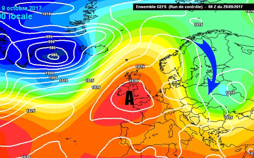 5. Ábra: a Brit-szigetek közelében kialakuló blokkoló anticiklon áramlási rendszerében hűvösebb, hidegebb léghullámok érkeznek a Kárpát-medence fölé.