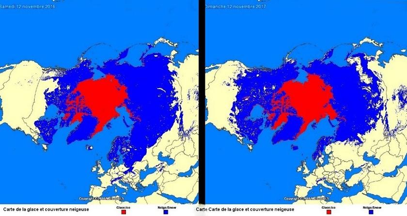 6. ábra: sarki jég, illetve hótakaró kiterjedése 2016/2017. november 12-én.