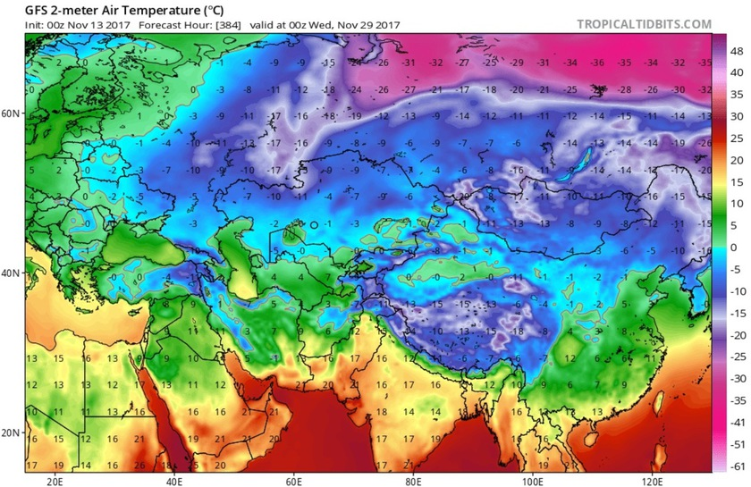 5. Ábra: a következő időszakban a szibériai területeken is megkezdődik az erős hideg felhalmozódás.