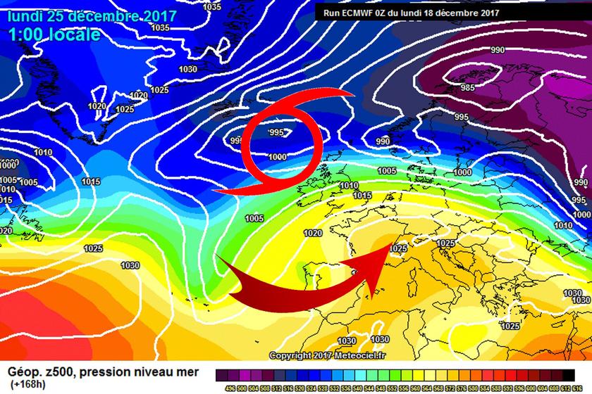 2. Ábra: a Brit-szigetek felett ciklonok örvénylenek, ezek előoldali áramlásában enyhébb léghullámok árasztják el a kontinens középső tájait.