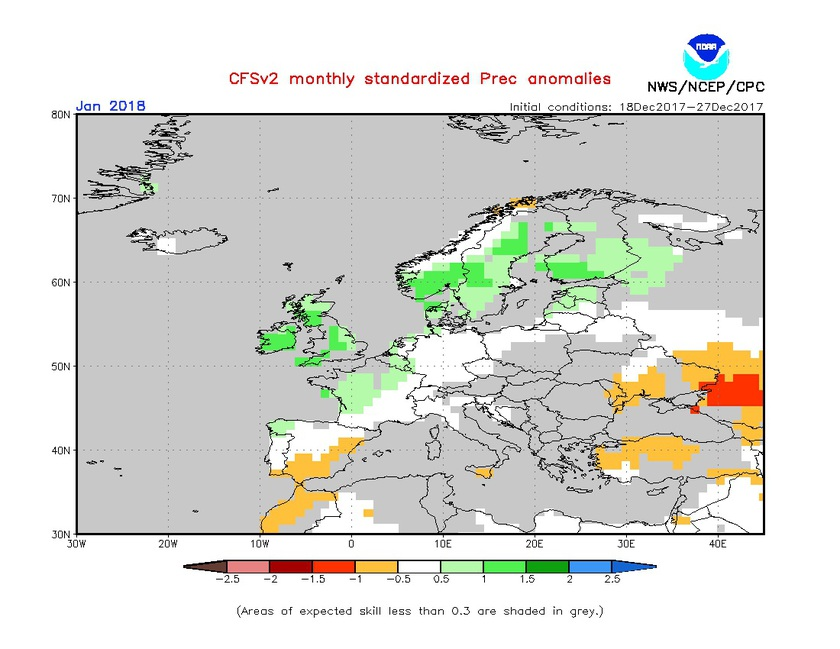 2. Ábra: a CFS modell csapadék anomália előrejelzése januárra.