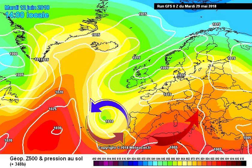 4. Ábra: Európa délnyugati tájai felett gyakran alakulhatnak ki alacsony nyomású zónák, ciklonok. A Kárpát-medence többnyire a ciklonok előoldali, meleg áramlásába tartozhat. A meleg levegővel azonban a Földközi-tenger térségéből időnként nedvesség is érkezik, így időről-időre zivatarosra fordulhat az idő.
