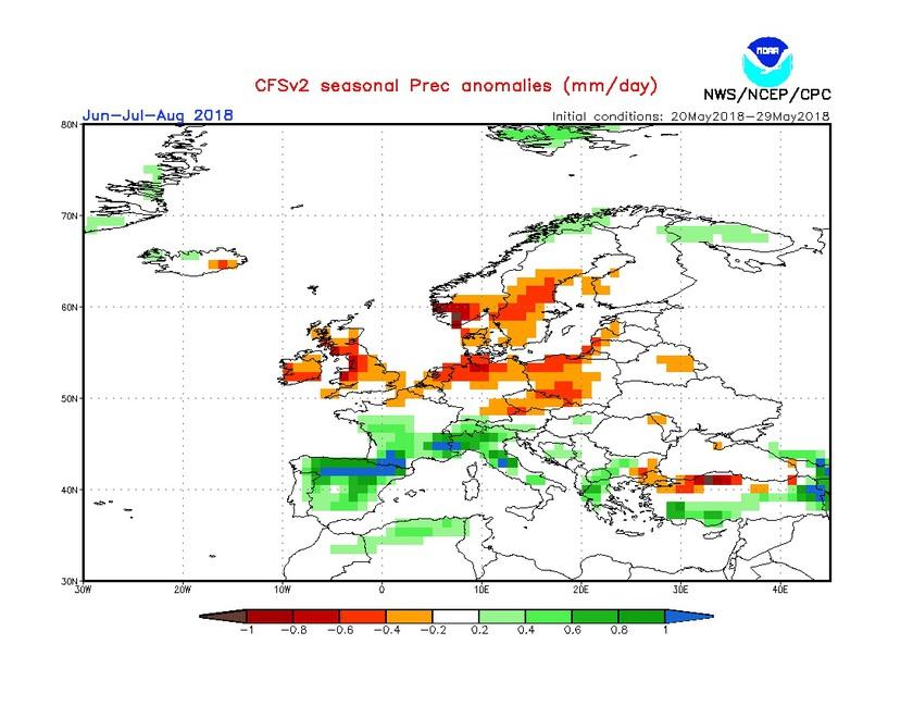 2. Ábra: a CFS modell csapadék anomália előrejelzése június, július, augusztusra.