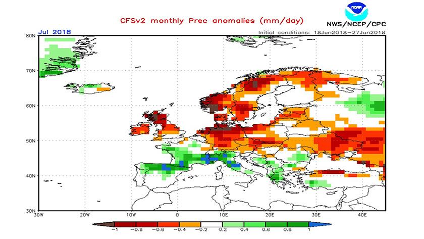 A CFS modell csapadék anomália előrejelzése júliusra.