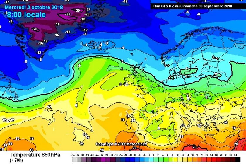 3. Ábra: Európa északi tájain már beköszöntött a télies idő, ezzel szemben messze délen még késő nyárias hőmérsékletek is előfordulnak. Hazánk a két légtömeg határán helyezkedik el, így összességében átlagos hőmérsékletű az idő.