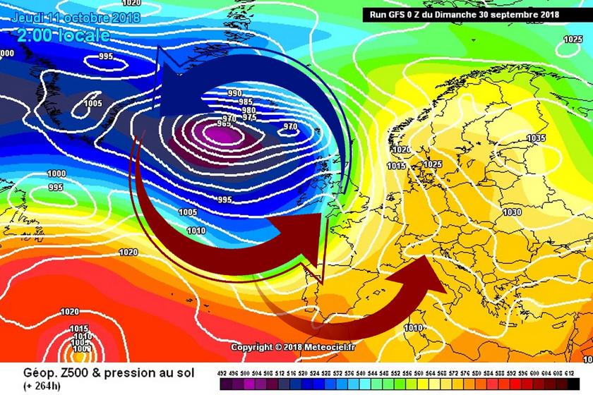 4. Ábra: az atlanti ciklonok előoldali áramlásában dél felől érkezik hozzánk a levegő. Egy-egy erősebb melegfront alkalmával még 20 fok fölé, sőt a déli tájakon 25 fok közelébe emelkedhet a hőmérséklet. A jelenlegi számítások szerint a hónap első felében még viszonylag gyakori lehet a déli áramlás.