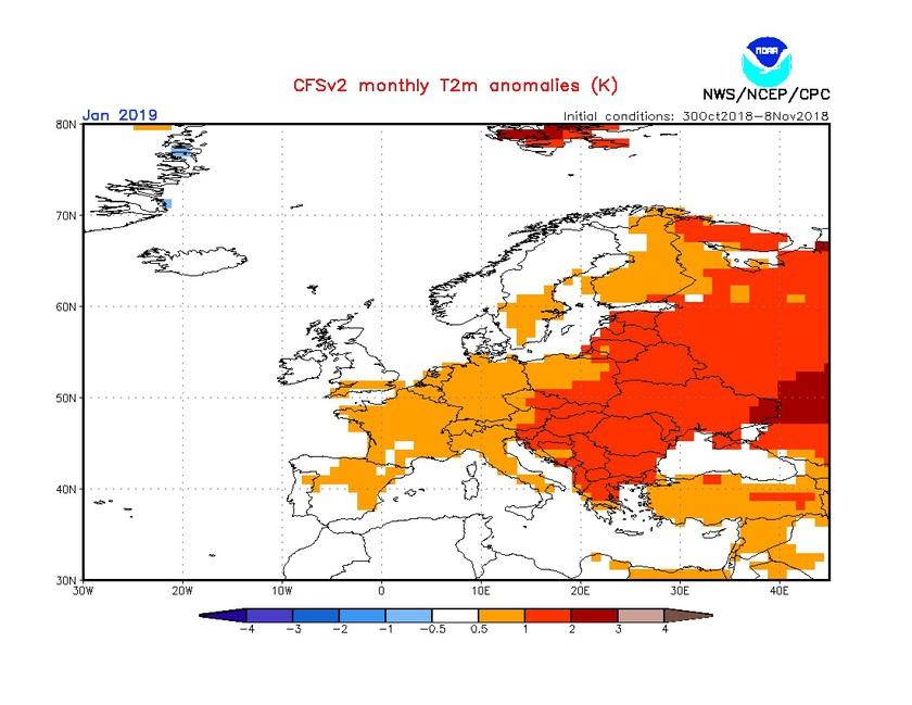 2. Ábra: a CFS modell hőmérsékleti anomália előrejelzése januárra.