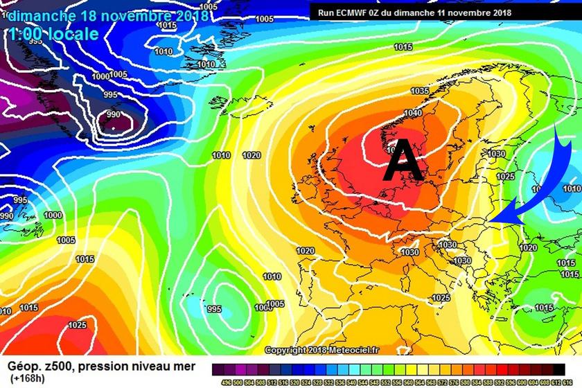 5. Ábra: november utolsó dekádjában jelentős átalakulás kezdődik időjárásunkban. Egy tőlünk északnyugatra megerősödő anticiklon áramlási rendszerében északkeletire fordul felettünk az áramlás, amellyel a mostaninál több fokkal hidegebb levegő érkezik fölénk.