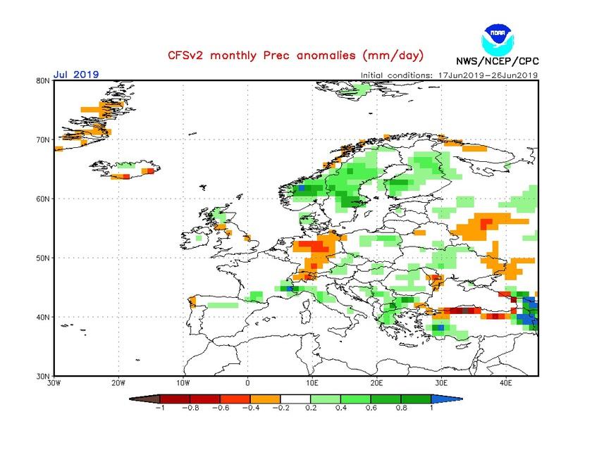 2. Ábra: a CFS modell csapadék anomália előrejelzése júliusra.