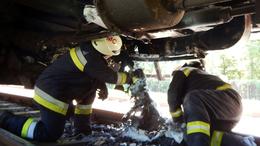 Lángolt egy vonat Balatonmáriafürdőnél