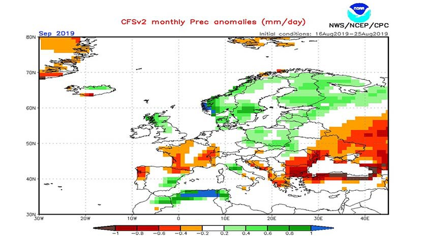 2. Ábra: a CFS modell csapadék anomália előrejelzése szeptemberre.