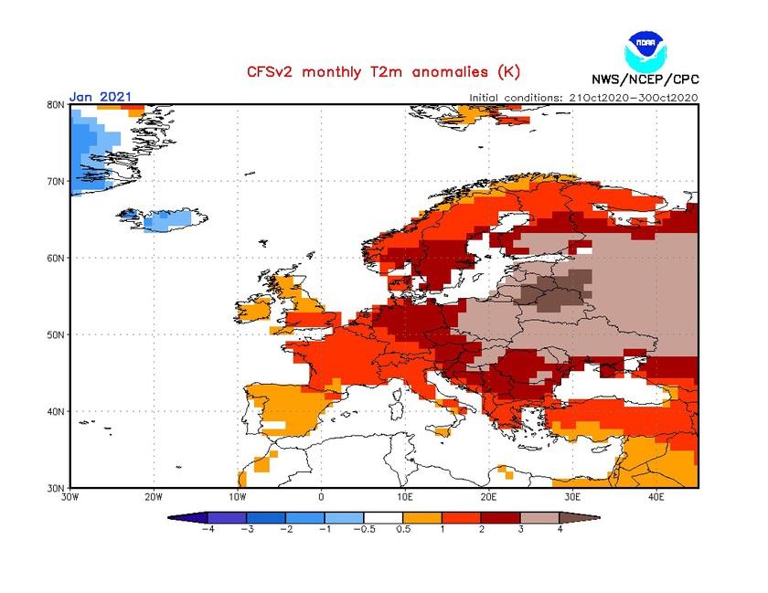 3. Ábra: a CFS modell hőmérsékleti anomália előrejelzése januárra.