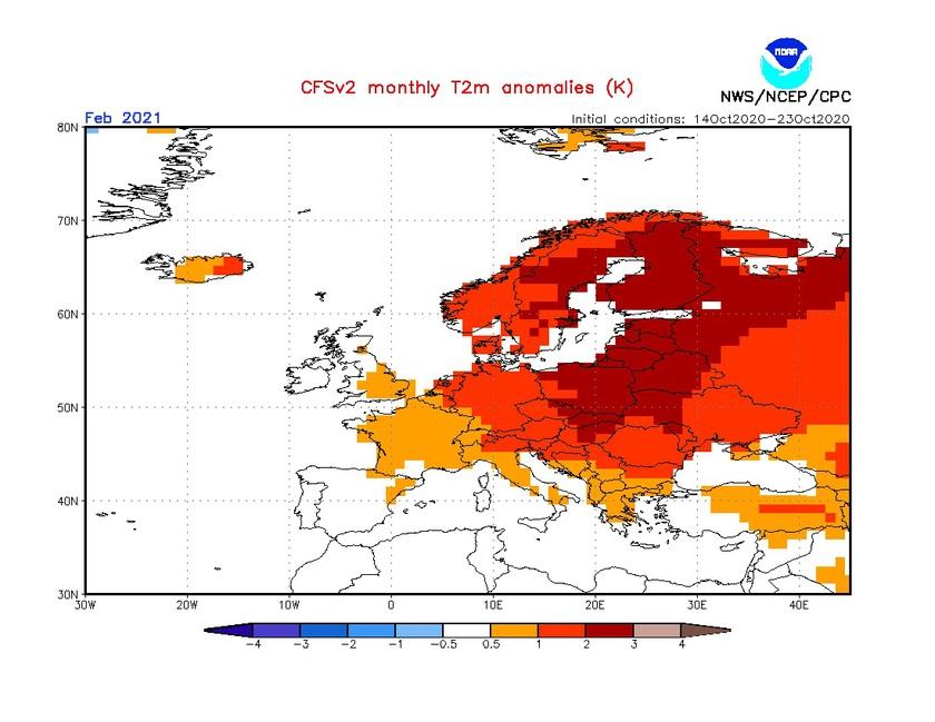 4. Ábra: a CFS modell hőmérsékleti anomália előrejelzése februárra.