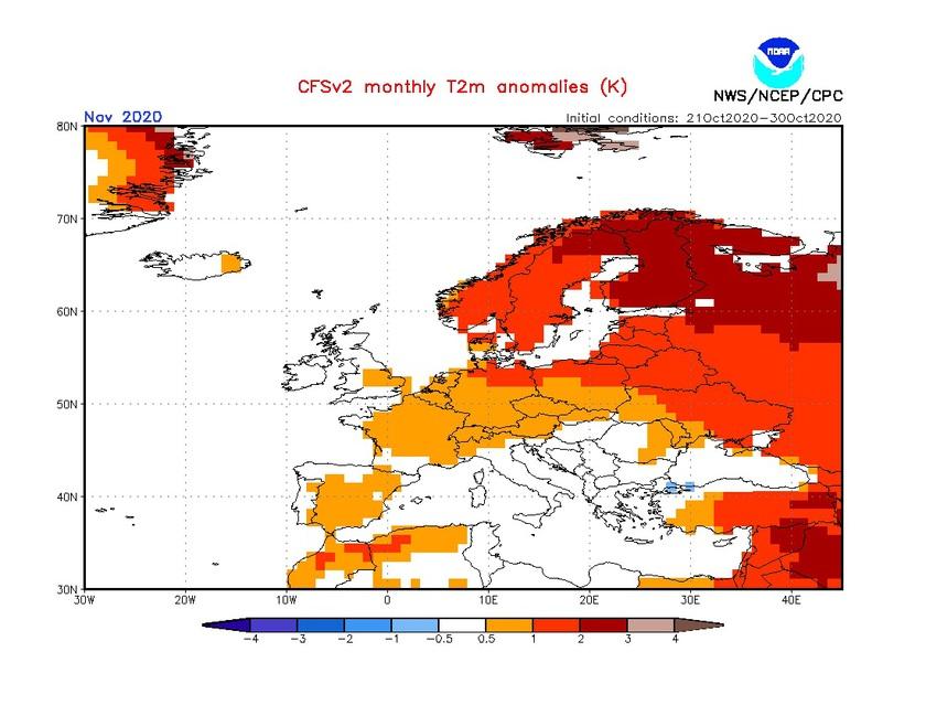 1. Ábra: A CFS modell hőmérsékleti anomália előrejelzése novemberre.