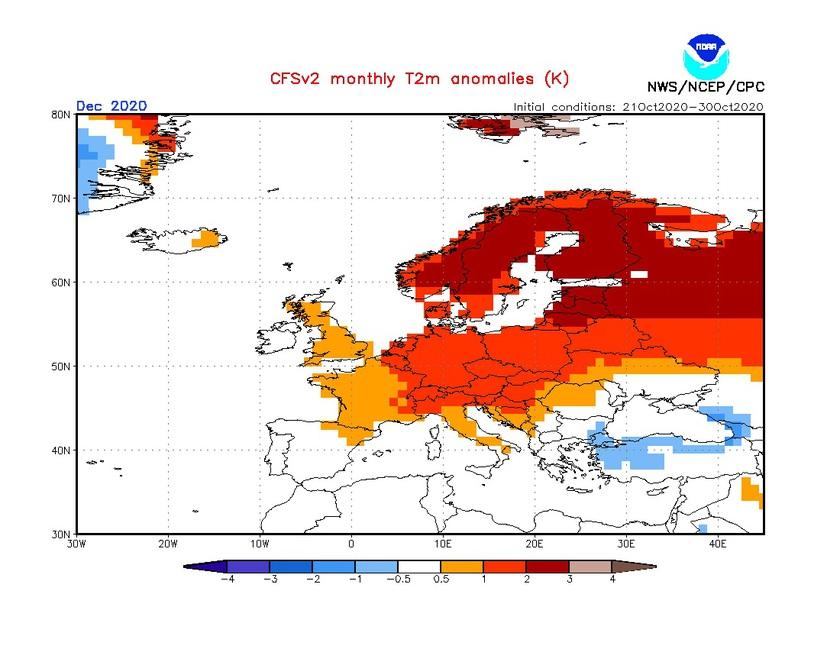 2. Ábra: a CFS modell hőmérsékleti anomália előrejelzése decemberre.