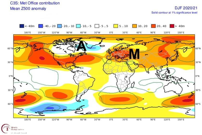 5. Ábra: nyomás anomália előrejelzés a három téli hónapra. Az alacsony nyomású területek, azaz a ciklonális hatások főleg az Atlanti-óceánon illetve az amerikai kontinens felett lehetnek majd jellemzőek. Az átlagosnál csapadékosabb idő is ezeken a területeken lehet. Ezzel szemben Európa nagy részén, de főleg a déli és középső területeken összességében magas légnyomás, azaz anticiklonális hatások uralkodhatnak. A Kárpát-medence és térsége az átlagosnál valamivel szárazabb és enyhébb lehet.