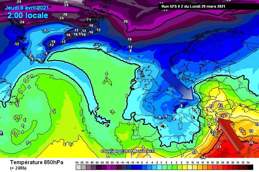 3. Ábra: jelentős hőmérsékleti kontraszt alakul ki Európa felett. A hideg és meleg légtömeg viszonylag közel lesz hozzánk, ennek hatására változékony, mozgalmas időre számíthatunk.